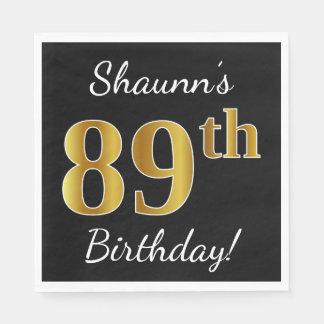 Black, Faux Gold 89th Birthday + Custom Name Disposable Napkins