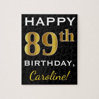 Black, Faux Gold 89th Birthday + Custom Name Jigsaw Puzzle