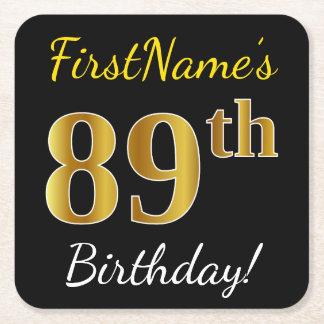 Black, Faux Gold 89th Birthday + Custom Name Square Paper Coaster