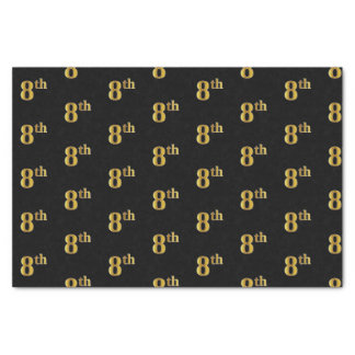 Black, Faux Gold 8th (Eighth) Event Tissue Paper