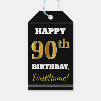 Black, Faux Gold 90th Birthday + Custom Name Gift Tags