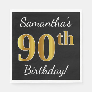 Black, Faux Gold 90th Birthday + Custom Name Paper Napkins