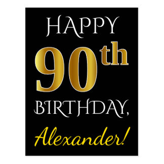 Black, Faux Gold 90th Birthday + Custom Name Postcard