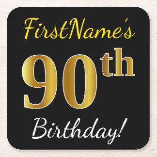 Black, Faux Gold 90th Birthday + Custom Name Square Paper Coaster