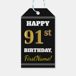Black, Faux Gold 91st Birthday + Custom Name Gift Tags