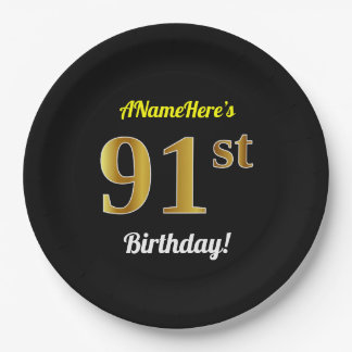 Black, Faux Gold 91st Birthday + Custom Name Paper Plate