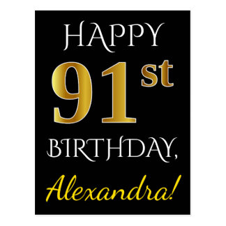 Black, Faux Gold 91st Birthday + Custom Name Postcard