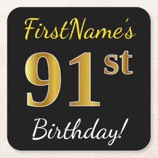 Black, Faux Gold 91st Birthday + Custom Name Square Paper Coaster