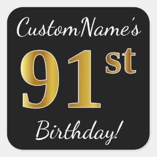 Black, Faux Gold 91st Birthday + Custom Name Square Sticker