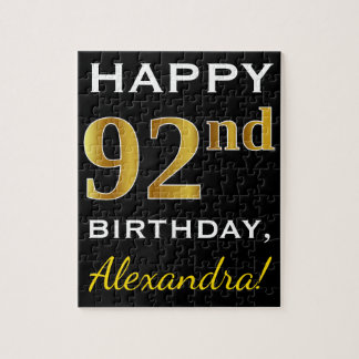 Black, Faux Gold 92nd Birthday + Custom Name Jigsaw Puzzle