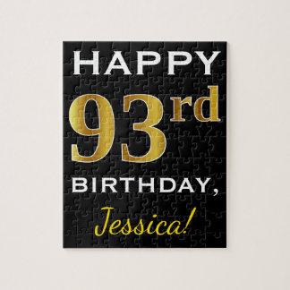 Black, Faux Gold 93rd Birthday + Custom Name Jigsaw Puzzle