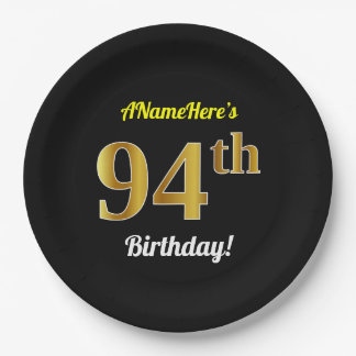 Black, Faux Gold 94th Birthday + Custom Name Paper Plate