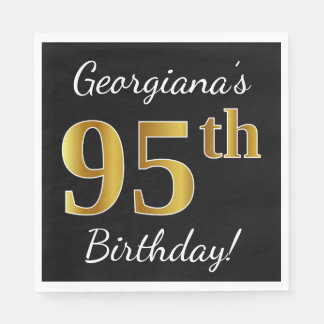 Black, Faux Gold 95th Birthday + Custom Name Disposable Napkins