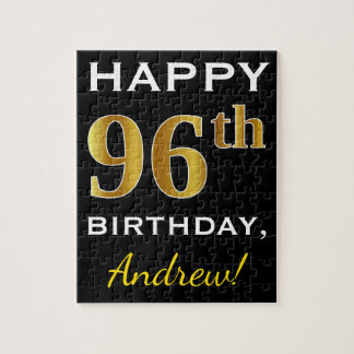 Black, Faux Gold 96th Birthday + Custom Name Jigsaw Puzzle