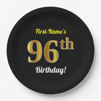 Black, Faux Gold 96th Birthday + Custom Name Paper Plate