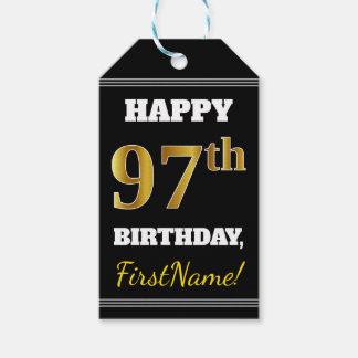 Black, Faux Gold 97th Birthday + Custom Name Gift Tags