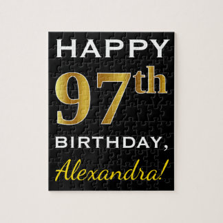 Black, Faux Gold 97th Birthday + Custom Name Jigsaw Puzzle