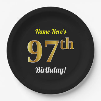 Black, Faux Gold 97th Birthday + Custom Name Paper Plate