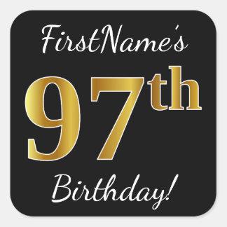 Black, Faux Gold 97th Birthday + Custom Name Square Sticker