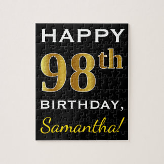 Black, Faux Gold 98th Birthday + Custom Name Jigsaw Puzzle