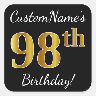 Black, Faux Gold 98th Birthday + Custom Name Square Sticker