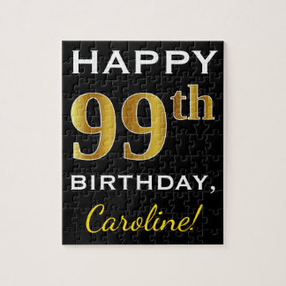 Black, Faux Gold 99th Birthday + Custom Name Jigsaw Puzzle