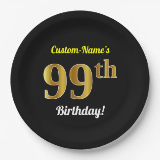 Black, Faux Gold 99th Birthday + Custom Name Paper Plate