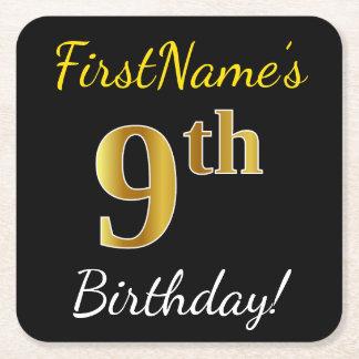 Black, Faux Gold 9th Birthday + Custom Name Square Paper Coaster