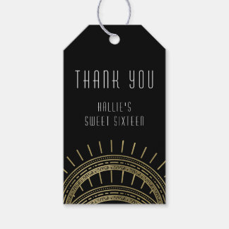 Black & Faux Gold Art Deco Sweet Sixteen Thank You Gift Tags