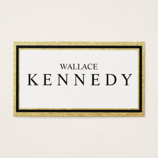 Black Faux Gold Border Business Cards Elegant