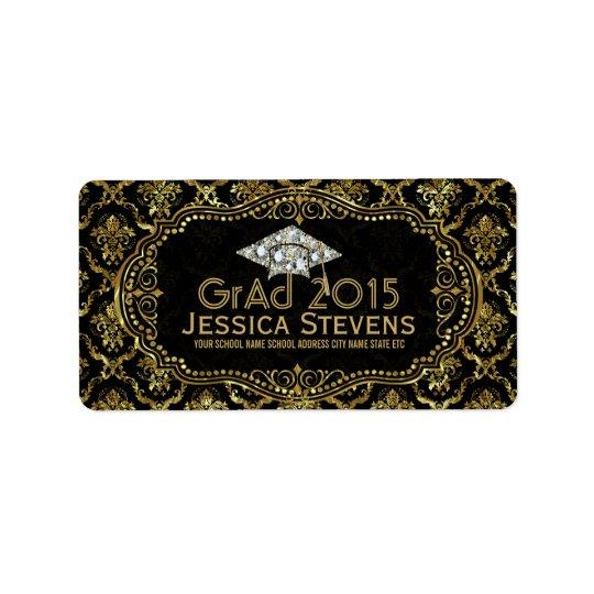 Black & Faux Gold Damasks & Glitter Grad Hat 2