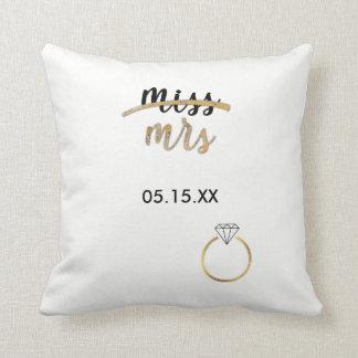 Black & Faux Gold Foil Miss Mrs. Name Date Pillow