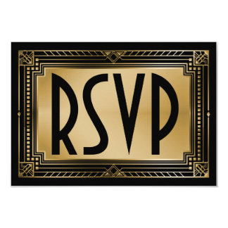"Black & Faux Gold Gatsby Geometric Wedding RSVP 3.5"" X 5"" Invitation Card"