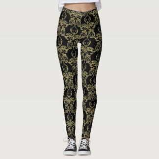 Black faux gold glitter foil pear damask pattern leggings