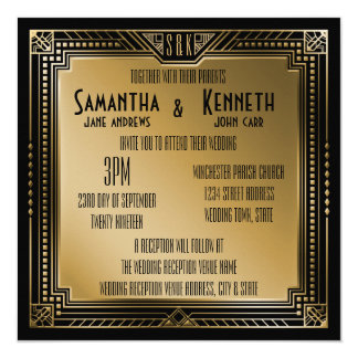 Black & Faux Gold Great Gatsby Geometric Wedding Card