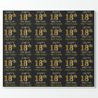 """Black, Faux Gold """"HAPPY 18th BIRTHDAY"""" Wrapping Paper"""