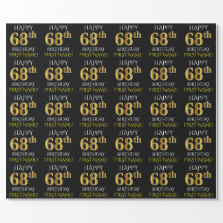 "Black, Faux Gold ""HAPPY 68th BIRTHDAY"" Wrapping Paper"