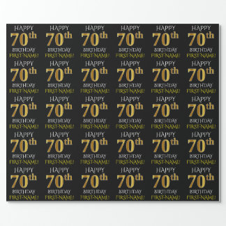 """Black, Faux Gold """"HAPPY 70th BIRTHDAY"""" Wrapping Paper"""