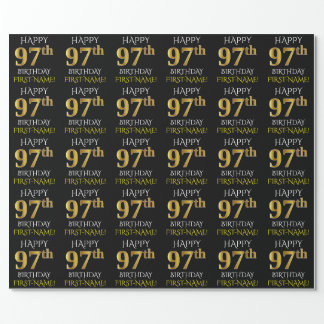 """Black, Faux Gold """"HAPPY 97th BIRTHDAY"""" Wrapping Paper"""