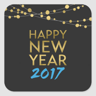 Black Faux Gold Lights Happy New Year Blue 2017 Square Sticker