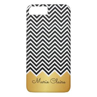 Black FAUX GOLD Modern Chevron Custom Monogram iPhone 8 Plus/7 Plus Case