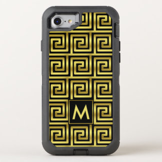 Black Faux Gold Monogram Classy Upscale Greek Key OtterBox Defender iPhone 7 Case