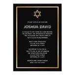 "Black Faux Gold Star of David Bar Mitzvah 5"" X 7"" Invitation Card"
