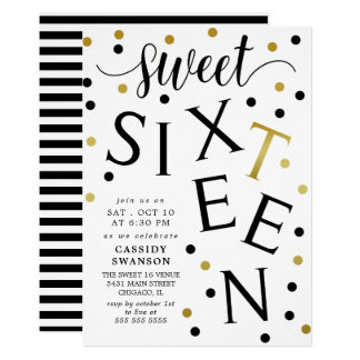 Black & Faux Gold Typography Sweet Sixteen Card