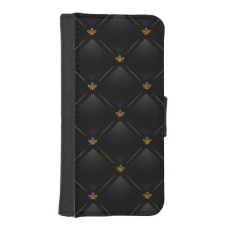 Black Faux Leather with Gold Fleur-de-lis Pattern iPhone 5 Wallet