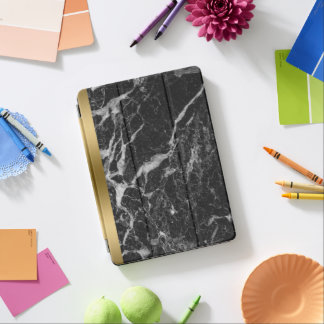 Black Faux Marble Gold Accent iPad Pro Cover
