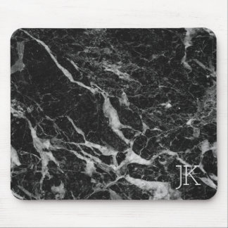 Black Faux Marble Stone Mouse Pad