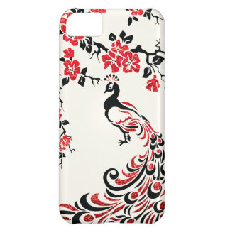 Black, faux red foil peacock & cherry blossoms iPhone 5C cases