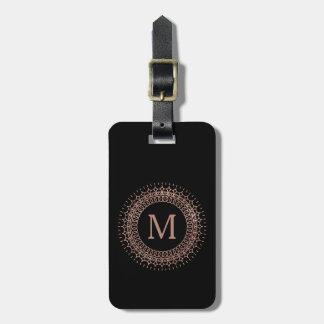 Black & Faux Rose Gold Elegant Initial Monogram Bag Tag