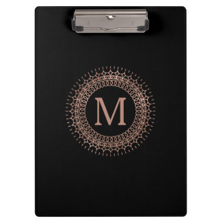 Black & Faux Rose Gold Medallion Monogram Clipboard